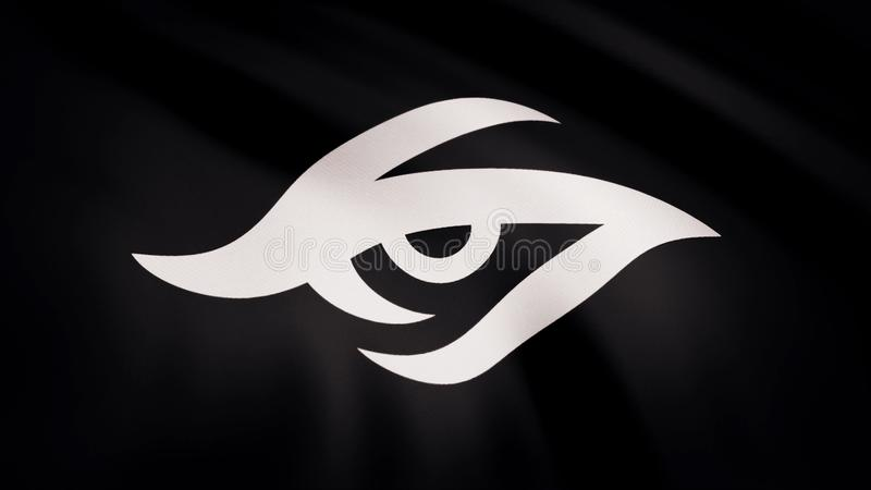 Animation waving flag symbol of professional eSports team Team Secret. A world-class cyber sports team. Editorial use stock photo
