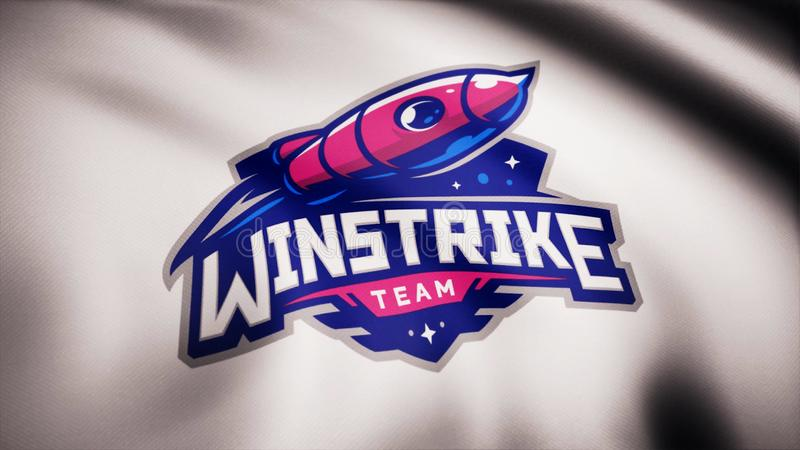 Animation waving flag symbol of professional eSports team Winstrike. A world-class cyber sports team. Editorial use only.  stock images