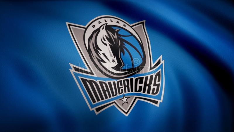 Animation waving in wind flag of basketball club Dallas Mavericks. Editorial use only vector illustration