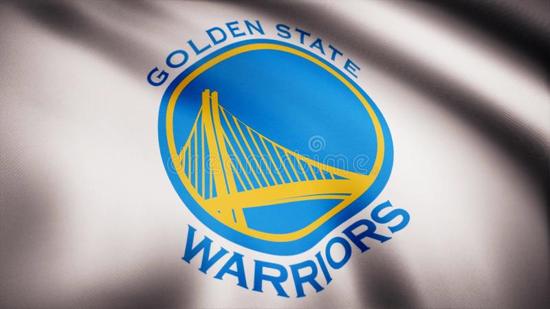 Animation waving in wind flag of basketball club Golden State Warriors. Editorial use only royalty free stock image