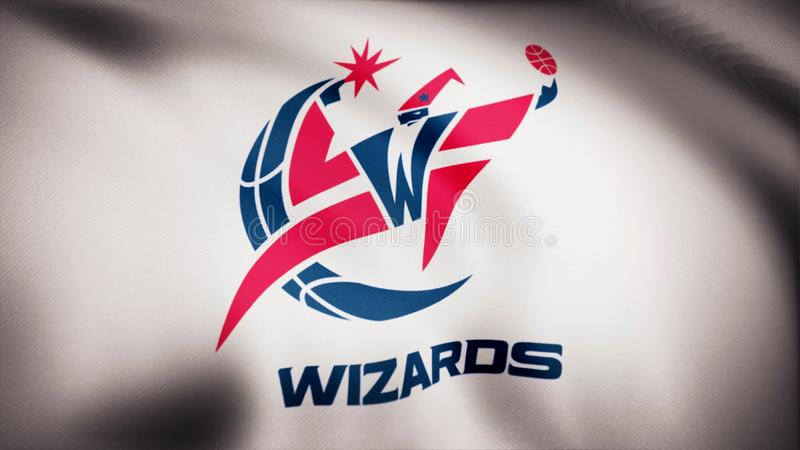 Animation waving in wind flag of basketball club Washington Wizards. Editorial use only stock photos