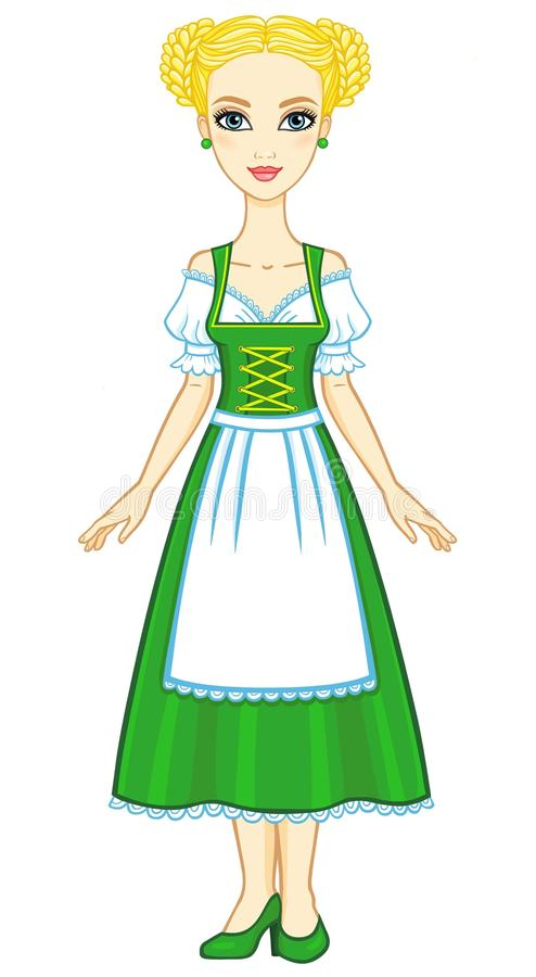 Animation young girl in an ancient Bavarian dress. vector illustration
