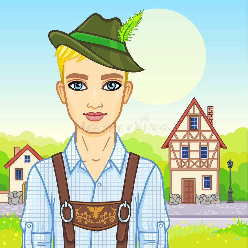 Animation young man of the European appearance in ancient Bavarian clothes. Background - a color landscape, ancient European street, decorative house. Vector stock illustration