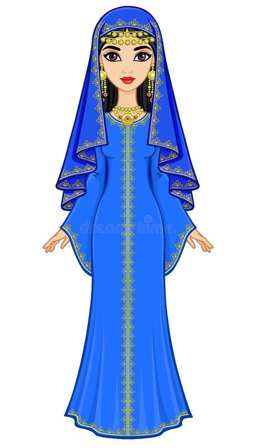 Animationsporträt der schönen arabischen Frau in der alten Klage: langes Kleid, Schleier lizenzfreie abbildung