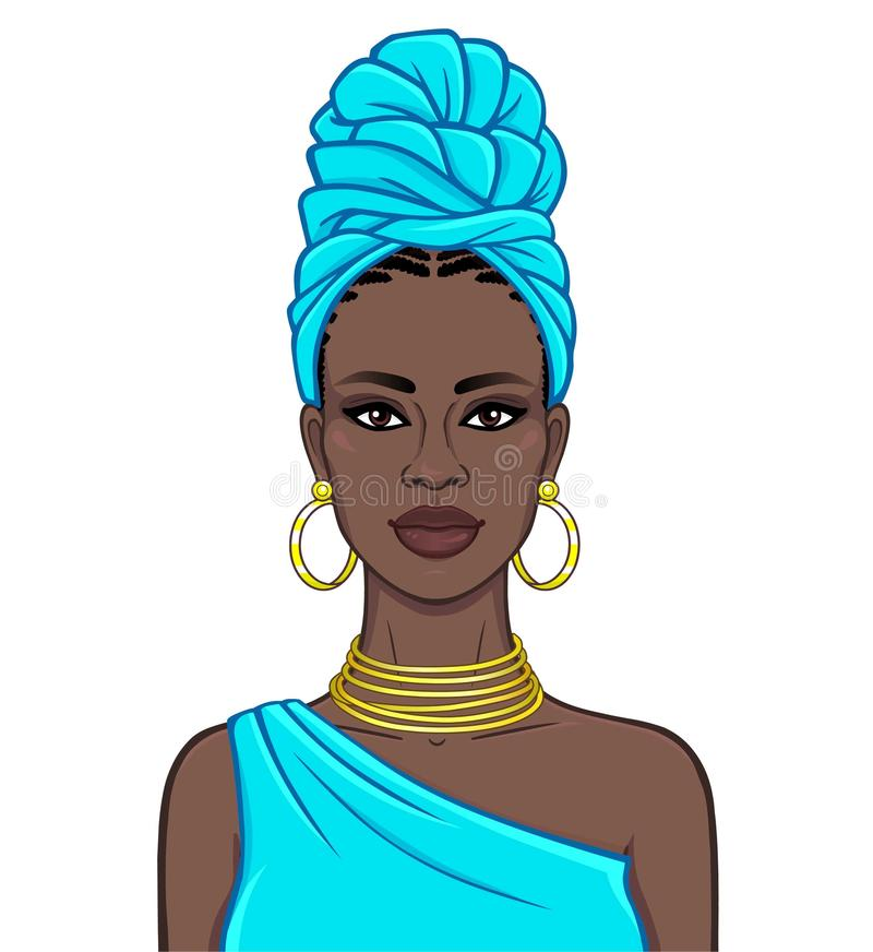 Animationsportr?t der sch?nen schwarzen Frau in einem blauen Turban- und Goldschmuck vektor abbildung