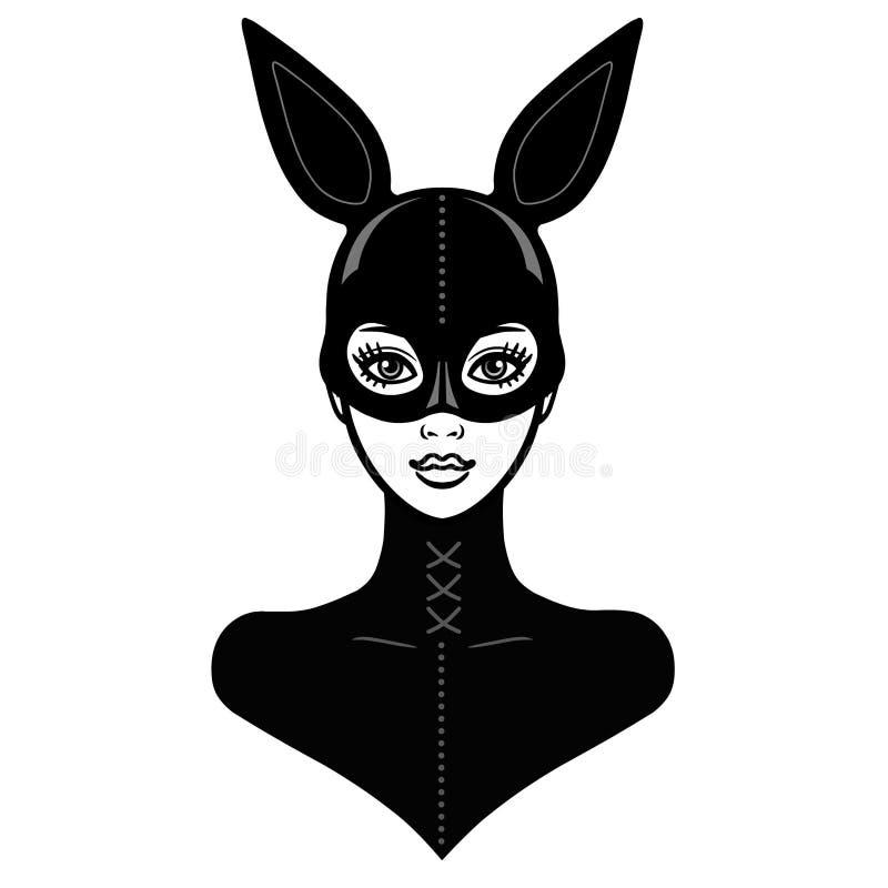 Animationsporträt des schönen Mädchens in einem schwarzen Latexanzug und in einem Maskenkaninchen vektor abbildung
