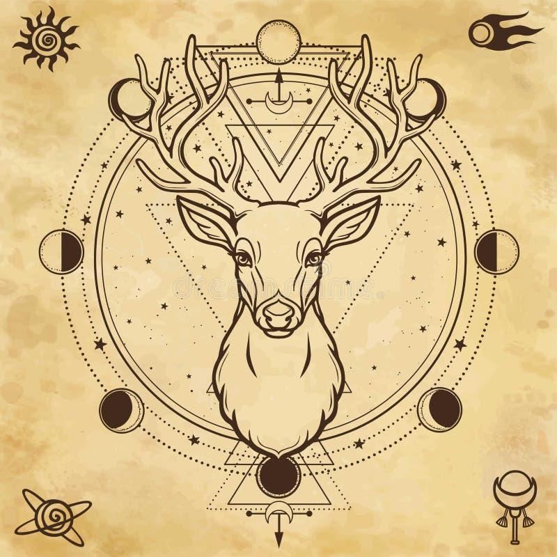 Animationsporträt eines gehörnten Rotwilds - Geist des Holzes Heidnische Gottheit stock abbildung