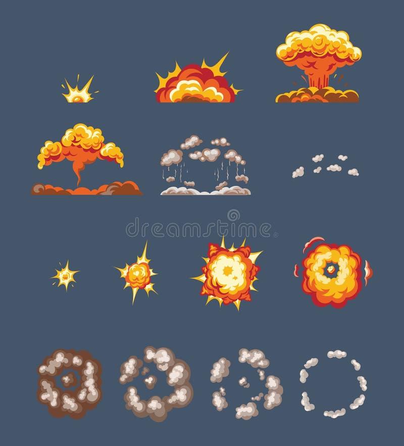 Animationsszenen, Effektrauch, Explosion, Feuer bewölkt sich, gebrochen in Elemente vektor abbildung