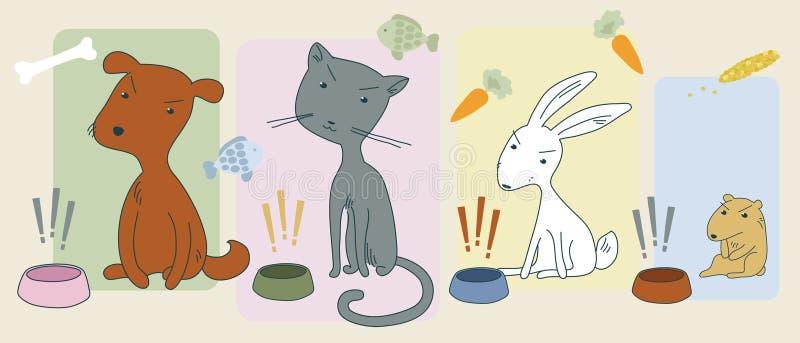 Animaux affamés fâchés illustration stock