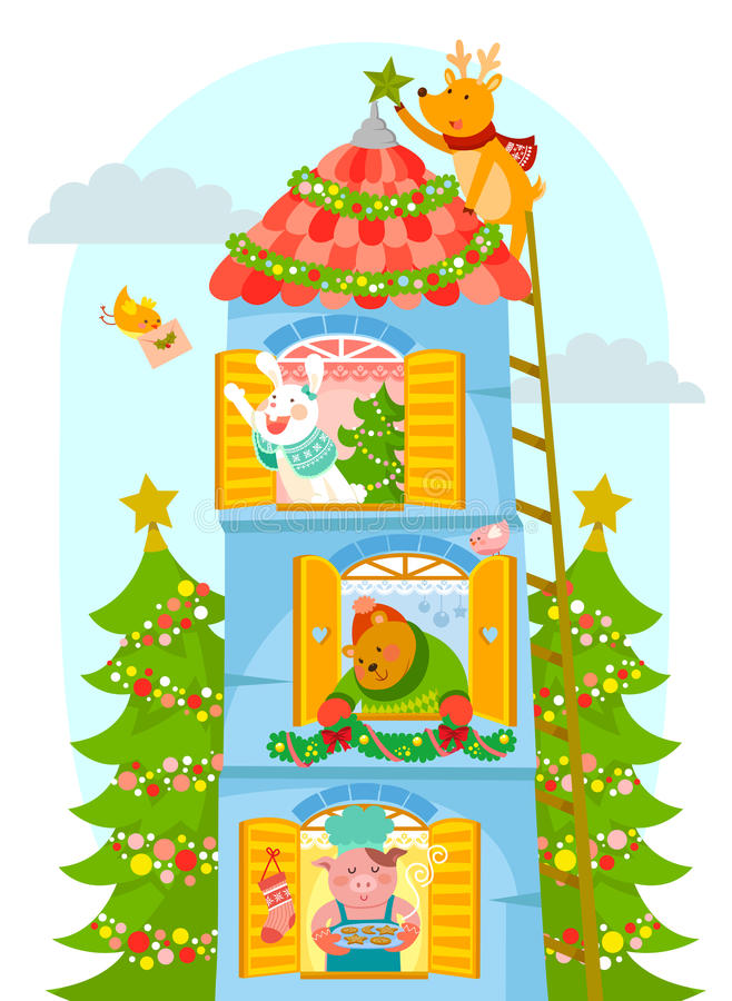 Animaux appréciant Noël illustration stock