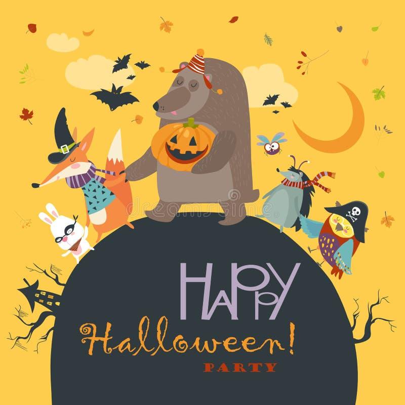 Animaux célébrant Halloween illustration stock