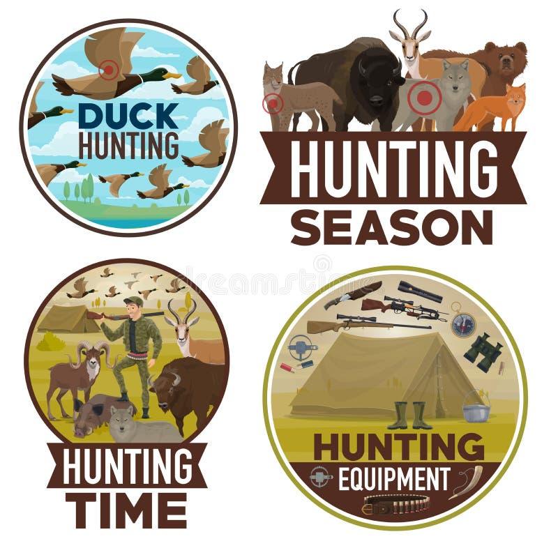 Animaux chassant la saison ouverte, équipement de chasseur illustration de vecteur