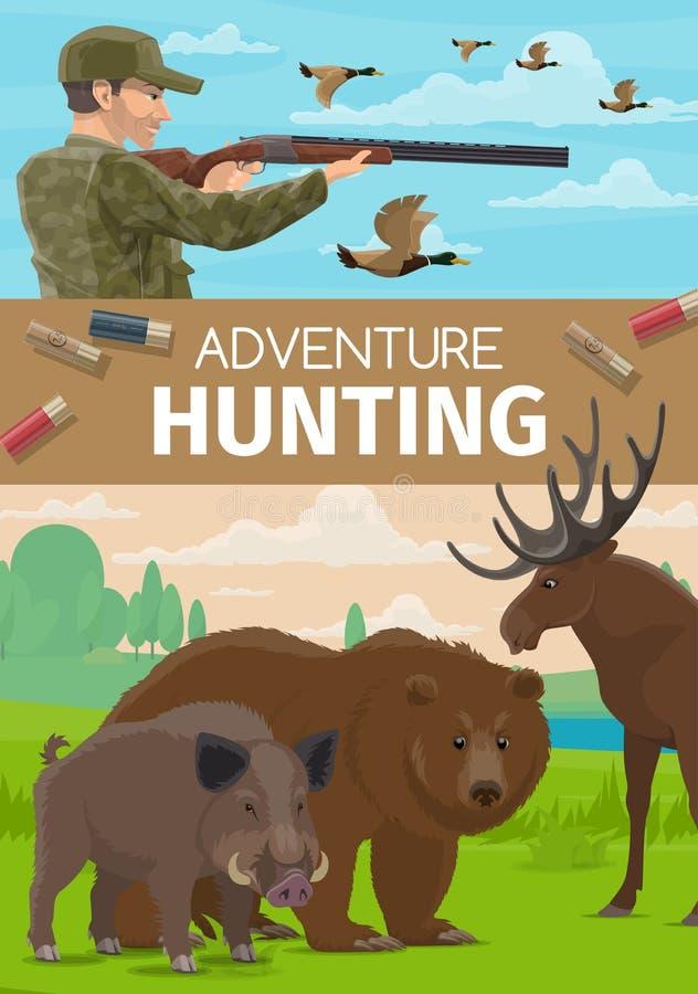 Animaux chassant la saison ouverte, aventure de club de chasseur illustration stock