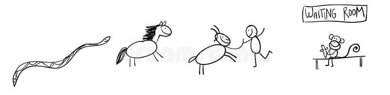 2013-2016 animaux chinois illustration de vecteur