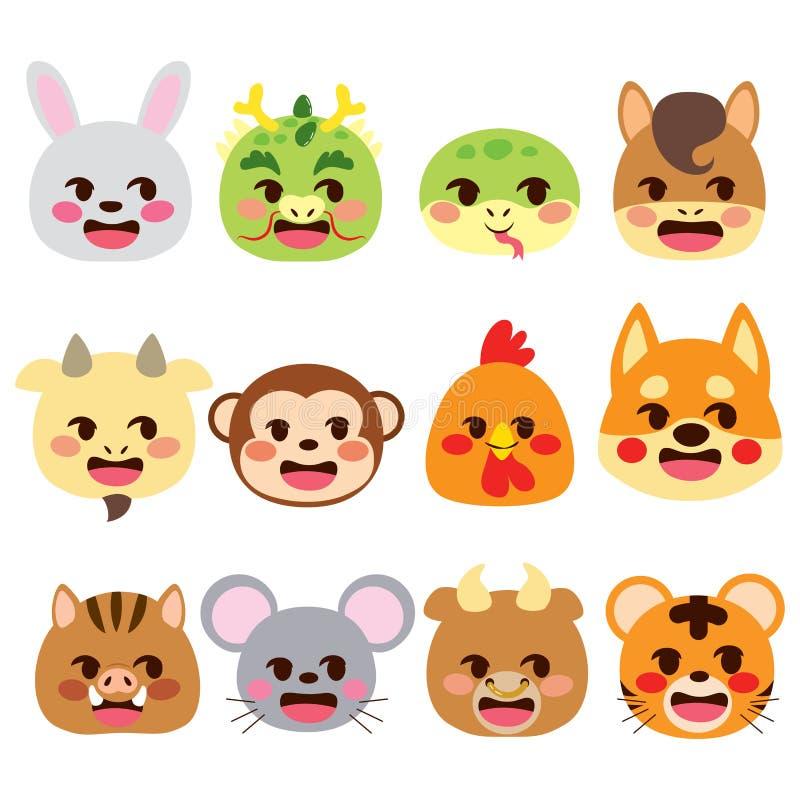 Animaux chinois d'Emoji de signes de zodiaque illustration de vecteur