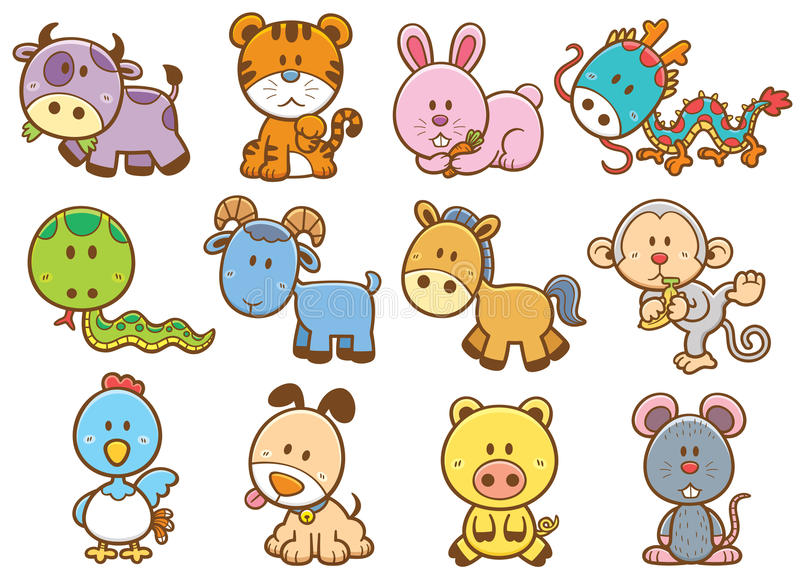 Animaux chinois de zodiaque illustration stock