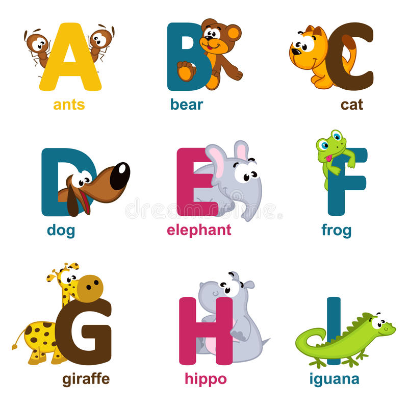 Animaux d'alphabet d'A à I illustration libre de droits