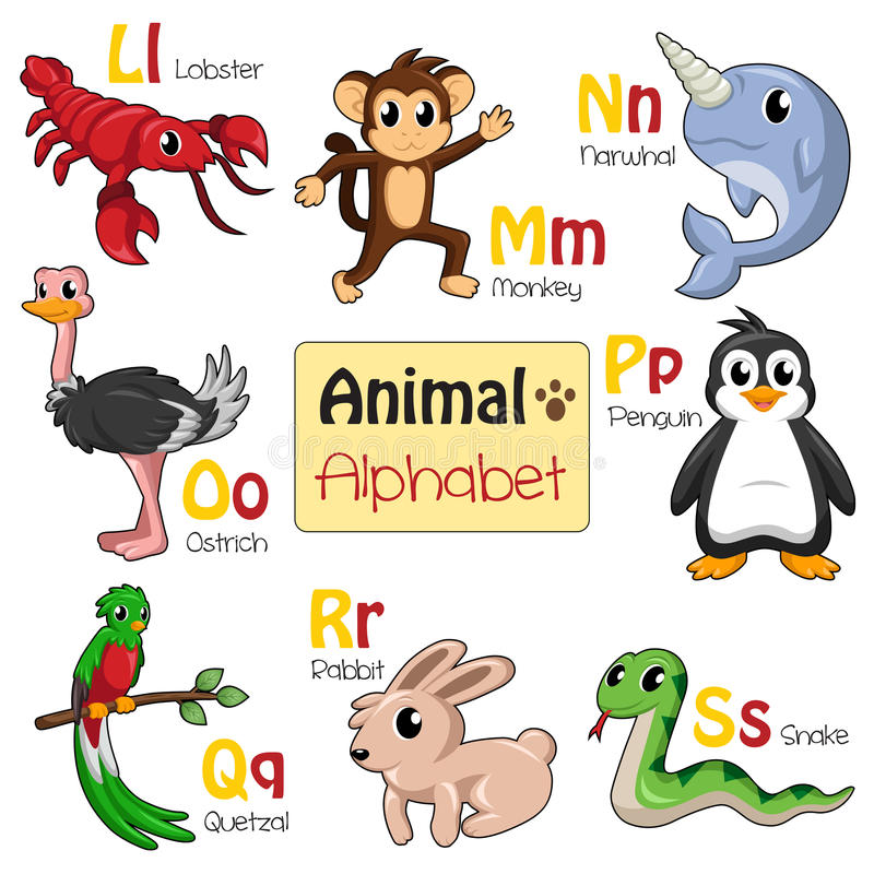 Animaux d'alphabet de L à S illustration libre de droits