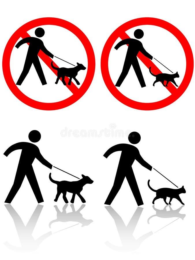Animaux d'animal familier de chat de crabot de promenade de personnes illustration libre de droits