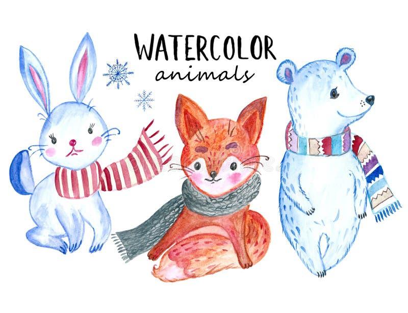 Animaux d'aquarelle de Noël réglés : lapin, Fox et ours L'illustration mignonne, se perfectionnent pour la salutation ou les cart illustration libre de droits