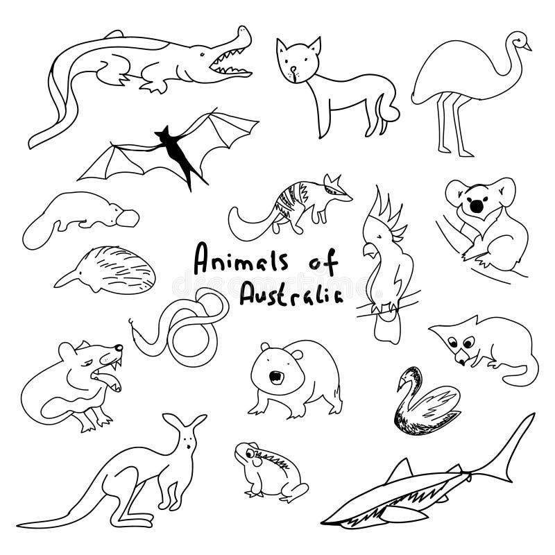 Animaux d'Australie un ensemble de dessins simples illustration stock