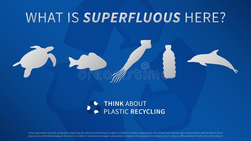 Animaux d'océan et illustration en plastique de vecteur de bouteille illustration libre de droits