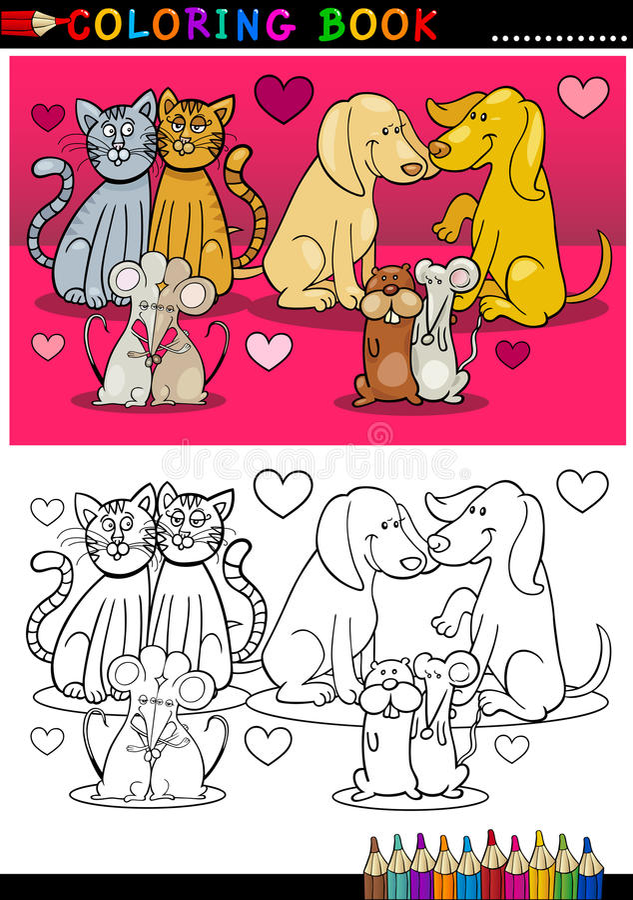 Animaux dans la bande dessinée d'amour pour livre de coloriage illustration libre de droits
