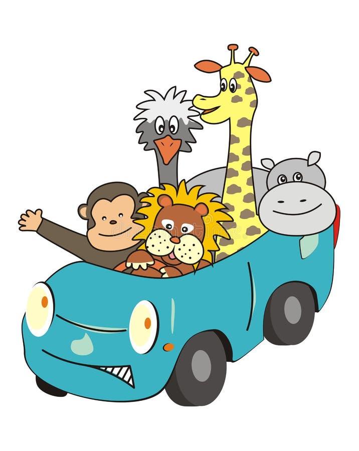 Animaux dans la voiture illustration stock