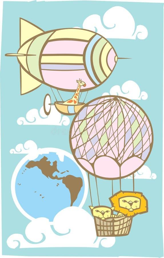 Animaux dans le ciel illustration libre de droits
