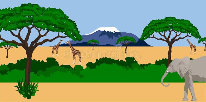 Animaux dans le paysage africain illustration de vecteur