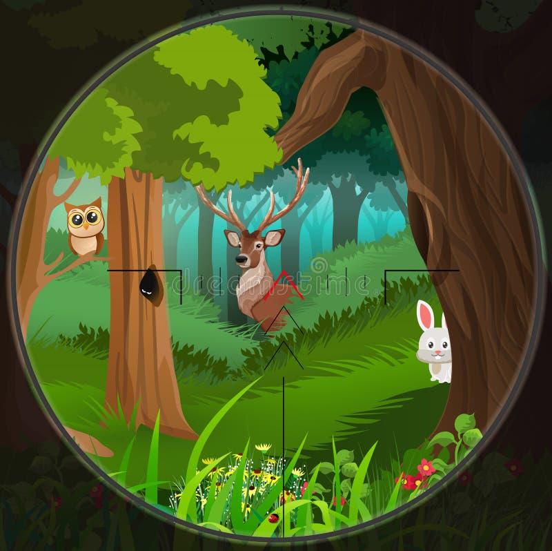 Animaux dans les bois illustration libre de droits