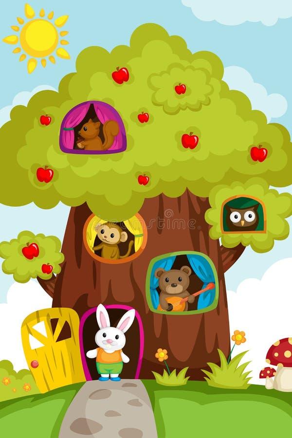 Animaux dans une cabane dans un arbre illustration de vecteur