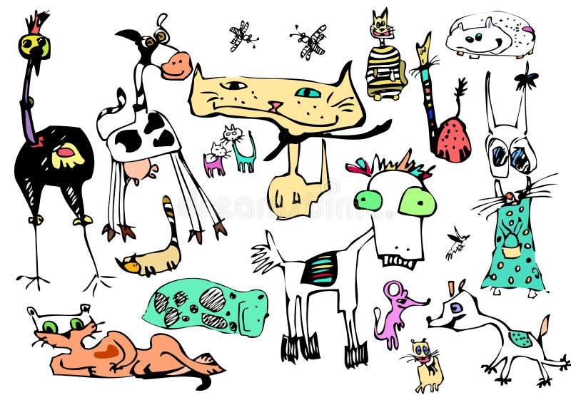 Animaux de chatte de bande dessinée de vecteur réglés illustration stock