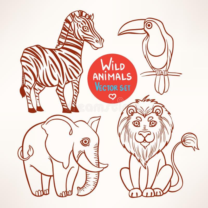 Animaux de croquis de jungle illustration de vecteur - Croquis animaux ...