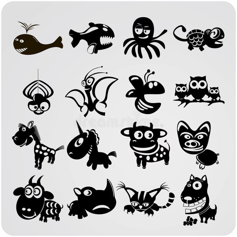 16 animaux de découpe de vecteur illustration de vecteur