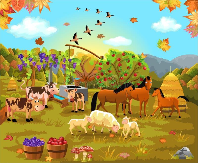 Animaux de ferme dans le domaine d'automne illustration libre de droits