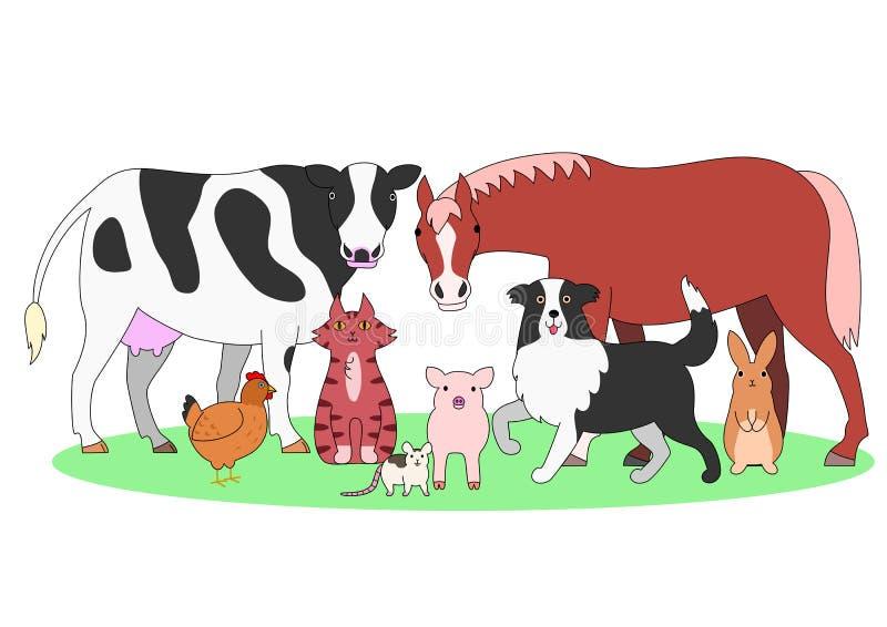 Animaux de ferme dans un groupe illustration de vecteur