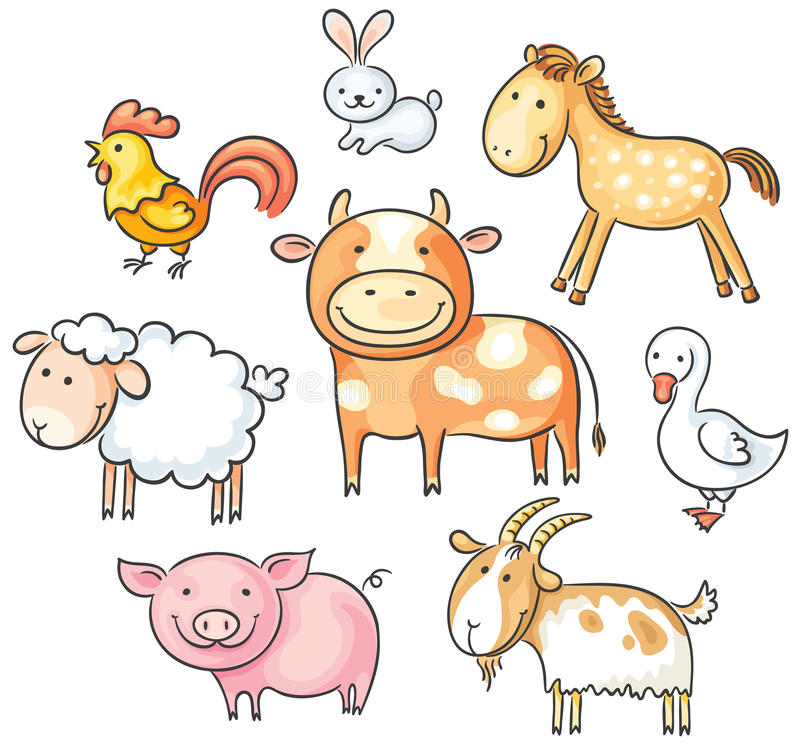 Animaux de ferme de bande dessinée illustration stock