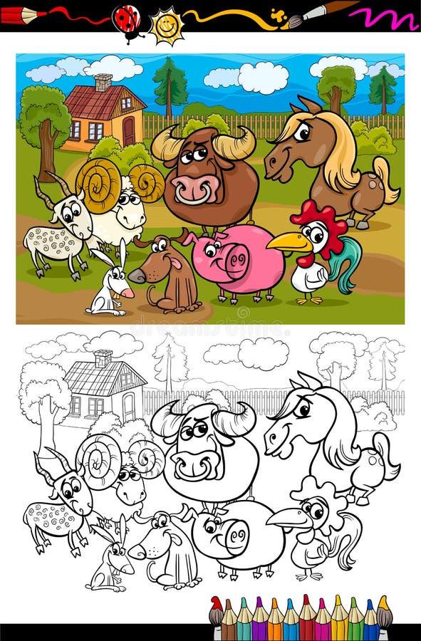 Animaux de ferme de bande dessinée pour livre de coloriage illustration de vecteur