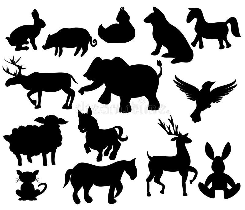 Animaux de ferme de silhouette illustration stock