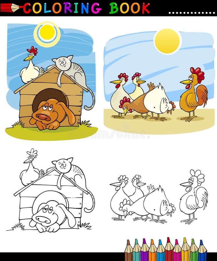 Animaux de ferme et d'accouplement pour la coloration illustration de vecteur