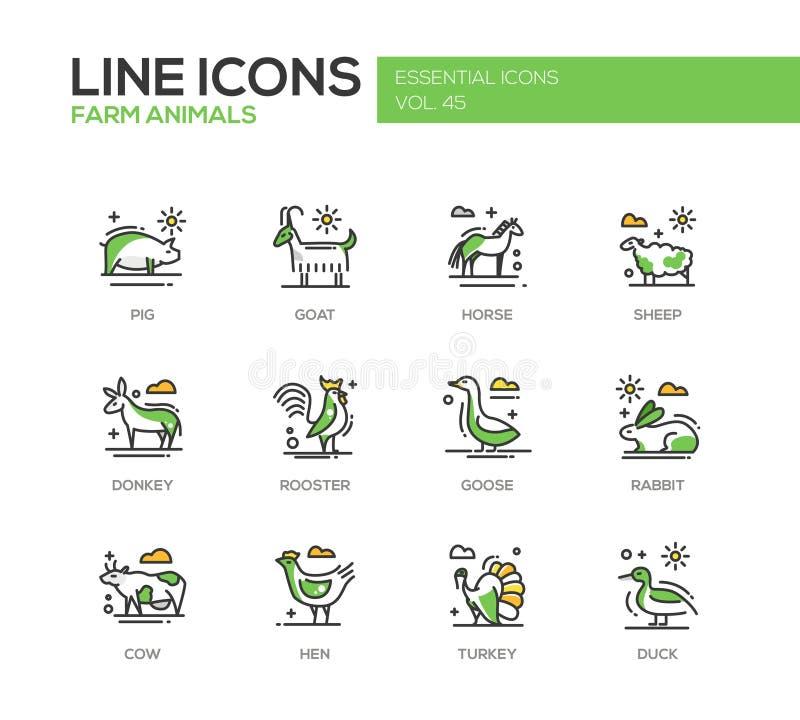 Animaux de ferme - ligne icônes de conception réglées illustration libre de droits
