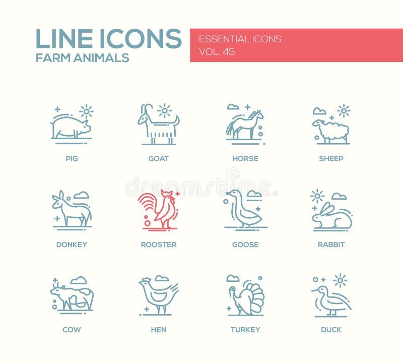 Animaux de ferme - ligne icônes de conception réglées illustration de vecteur