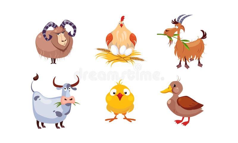 Animaux de ferme mignons de bande dessinée ensemble, mouton, poule, chèvre, vache, canard, illustration de vecteur illustration libre de droits