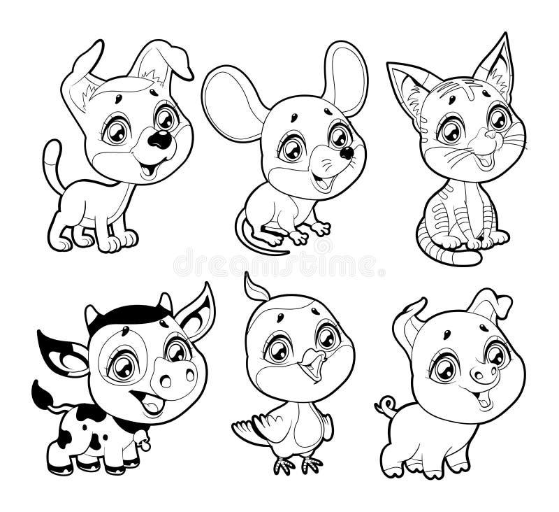 Animaux de ferme mignons en noir et blanc illustration libre de droits