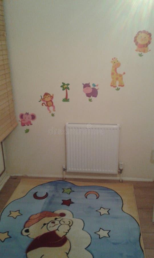 Animaux de garçons de décorations de crèche de bébé image libre de droits