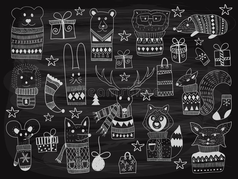 Animaux de griffonnage de Noël de vecteur sur le tableau illustration de vecteur