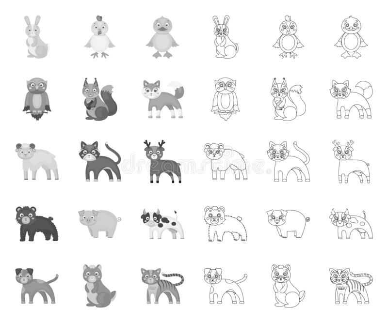 Animaux de jouet mono, icônes d'ensemble dans la collection réglée pour la conception L'oiseau, le pr?dateur et l'herbivore dirig illustration de vecteur