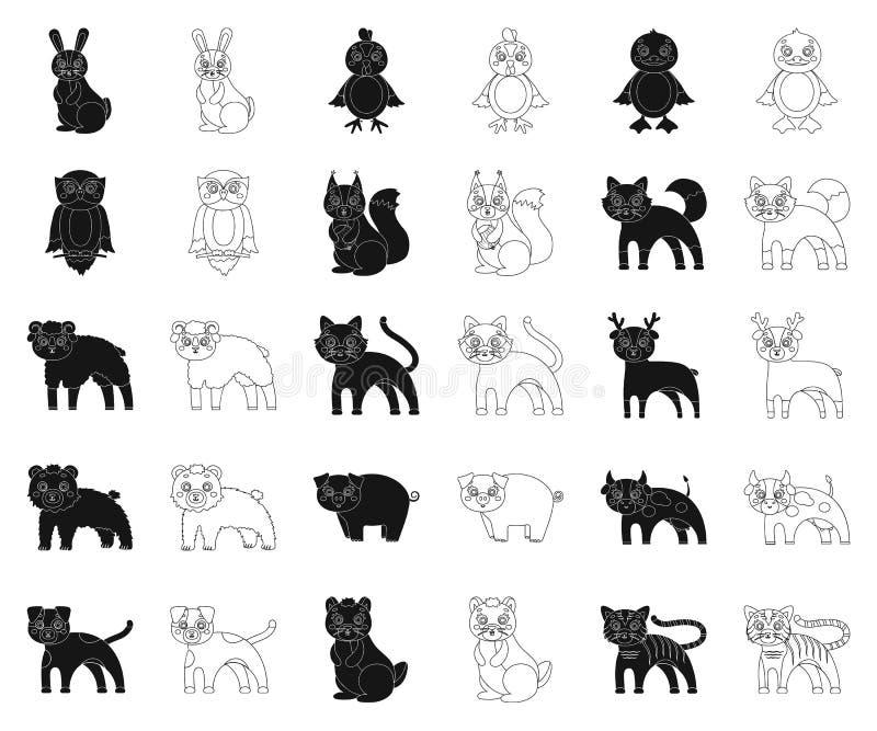Animaux de jouet noirs, icônes d'ensemble dans la collection réglée pour la conception L'oiseau, le prédateur et l'herbivore diri illustration de vecteur