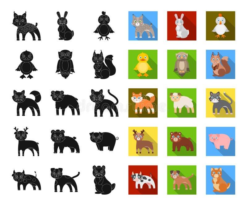 Animaux de jouet noirs, icônes plates dans la collection réglée pour la conception L'oiseau, le prédateur et l'herbivore dirigent illustration stock